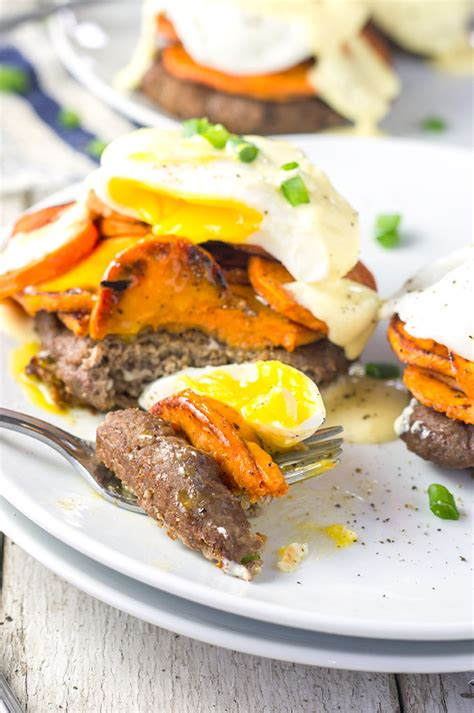 sweet potato turkey sausage eggs benedict bound by food