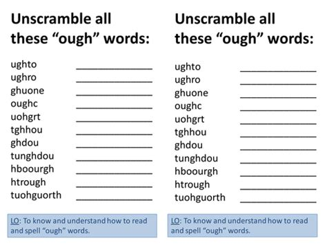 aught pattern words year 5 and 6 spag spellings words containing the letter