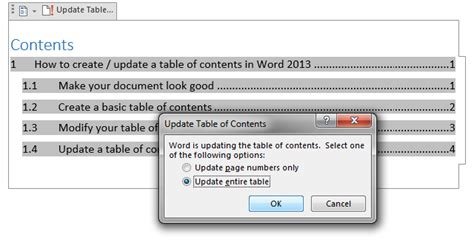 table of contents word 2013 template tips and tricks to create a table of contents in word 2010