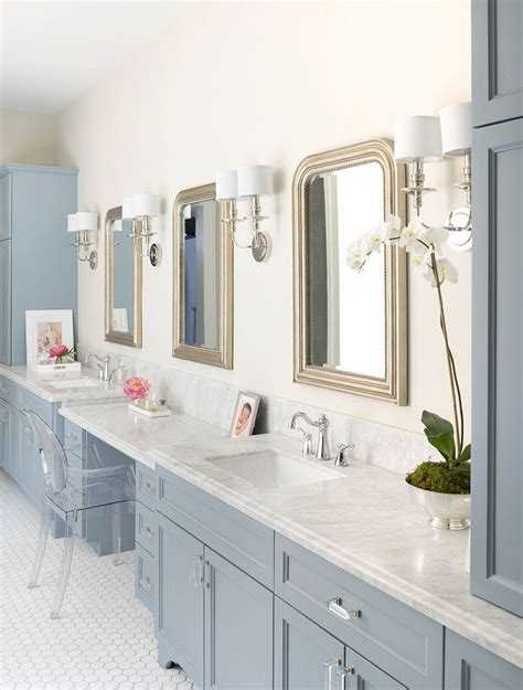 beautiful cabinets and carrara marble on pinterest gorgeous gray blue color on vanity beautiful with the