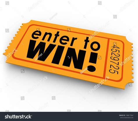 to enter enter win words orange ticket raffle stock illustration