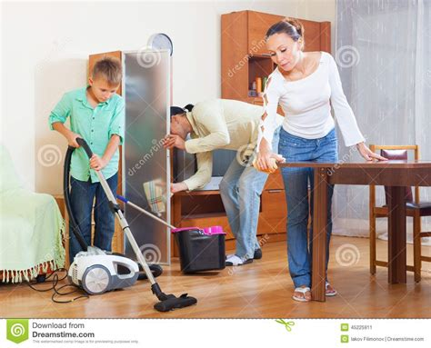 Vacuum Living Room In Happy And Cleaning Stock Photo Image