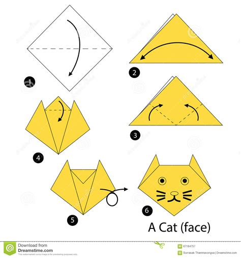 How To Make Paper Animals Step By Step - step by step how to make origami a cat stock