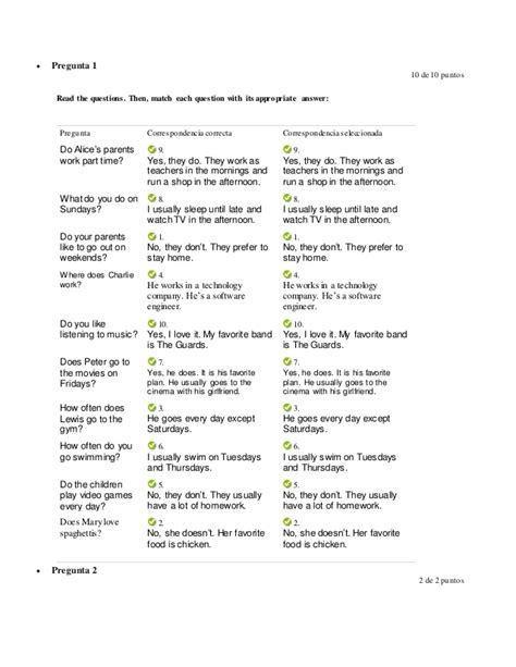 reporting your daily life activities test level a1 1 - Preguntas Y Respuestas Worksheet Answers
