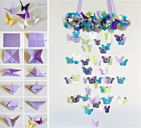Paper Butterfly Craft - butterfly mobile diy chandelier easy tutorial