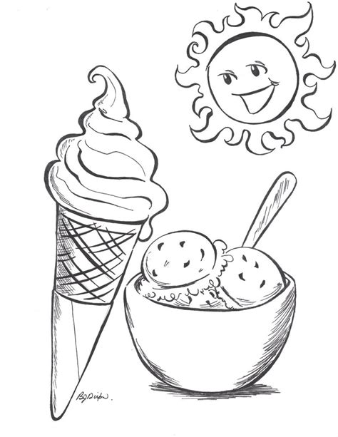 summer ice cream coloring pages summer ice cream and sun by jadzialana on deviantart