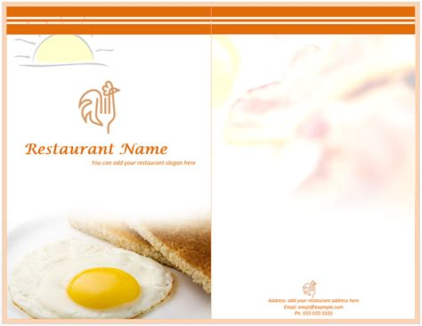 breakfast menu template word breakfast menu template format template