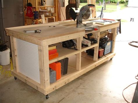 workshop work bench workbench with inset areas for miter table saw diy
