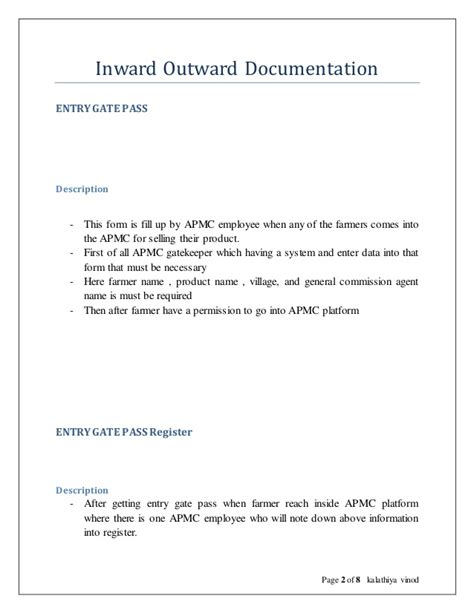 Request Letter Sle For Gate Pass Inward Outward Documentation