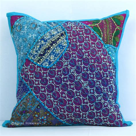 handmade heavy beaded indian vintage throw pillow