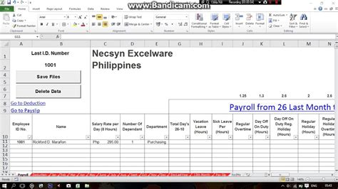 Philippines Simple Payroll System Using Excel Part1 Youtube Payroll System Template