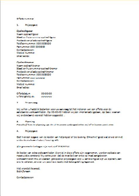 layout nederlandse brief voorbeeld offerte dienstverlening