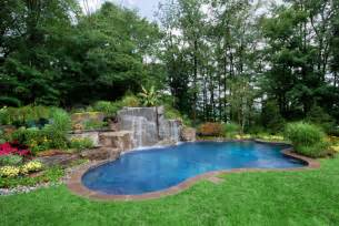 Backyard Pool Landscaping Pictures Backyard Swimming Pools Waterfalls Landscaping Nj