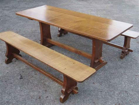 oak dining table and benches antiques atlas oak dining table benches by the lizardman