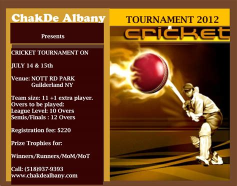 Invitation Letter Format For Cricket Tournament Chak De Albany