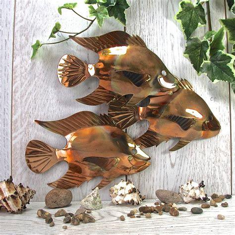 garden wall sculptures copper fish trio garden wall sculpture by