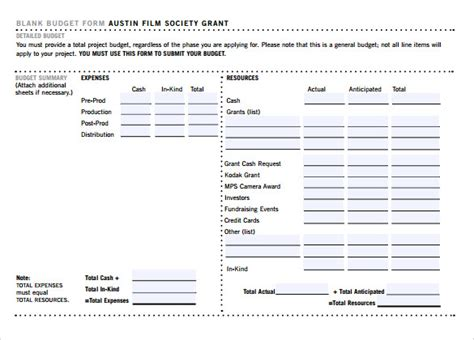 8 Film Budget Sles Sle Templates Documentary Template