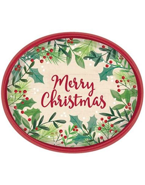 holly merry christmas oval plates 8ct party city