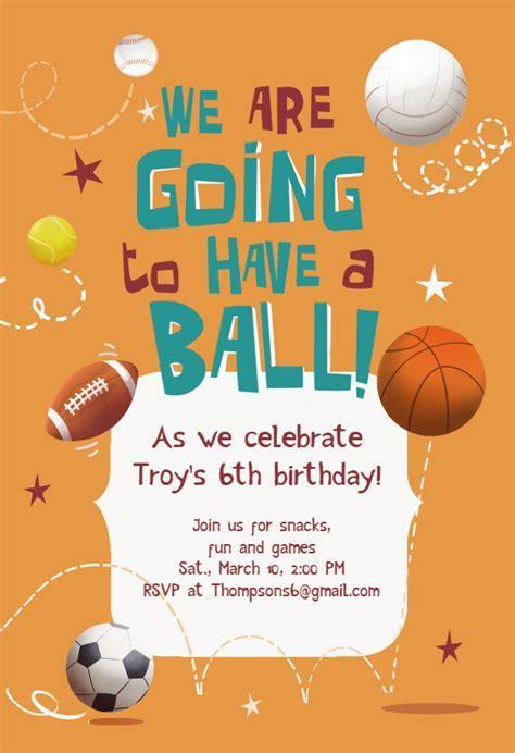 Celebrate 6th Birthday   sports & games Invitation