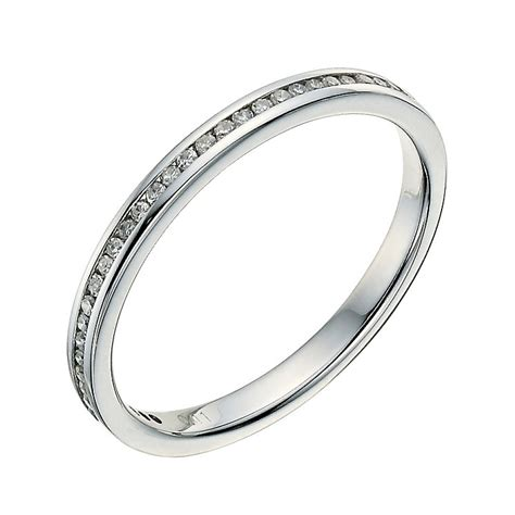 9ct white gold channel set 10 point wedding ring
