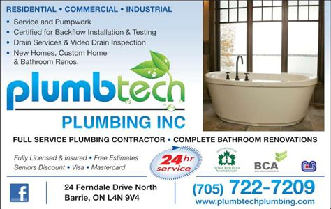 plumbtech plumbing inc barrie on 24 ferndale dr n