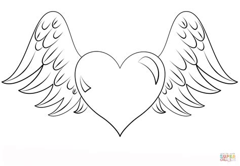 coloring pages of hearts with wings coloring home