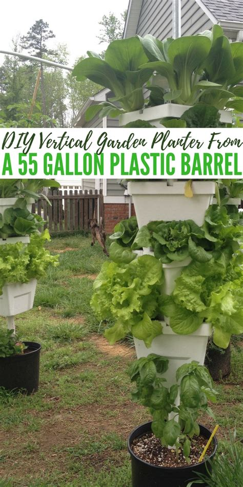 diy vertical garden planter from a 55 gallon plastic barrel