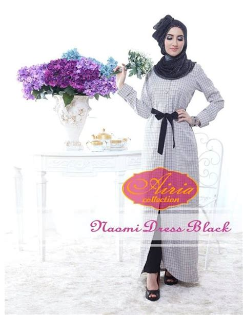 dress by airia black baju muslim gamis modern