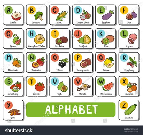 list of colors a z vector color alphabet fruit vegetables on stock vector