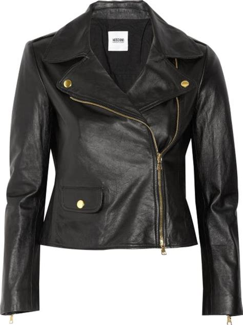 cheap biker jackets moschino cheap chic leather biker jacket in black lyst