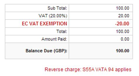 ec vat invoices reverse charge statement feature