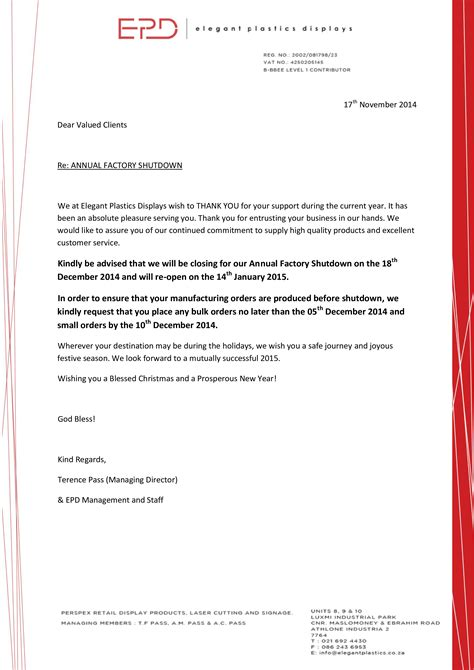 business closure notice letter templates
