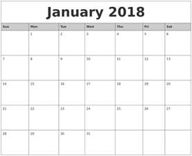 January 2018 Calendar Calendars Monthly Printable 2017 2018 Cars Reviews