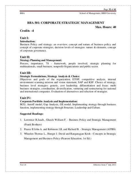 Bba Mba Integrated Course Syllabus by Bba Syllabus