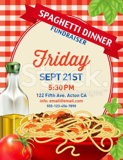 Spaghetti Dinner Invitation Poster Template On Red Plaid Background Spaghetti Dinner Dinner Poster Template