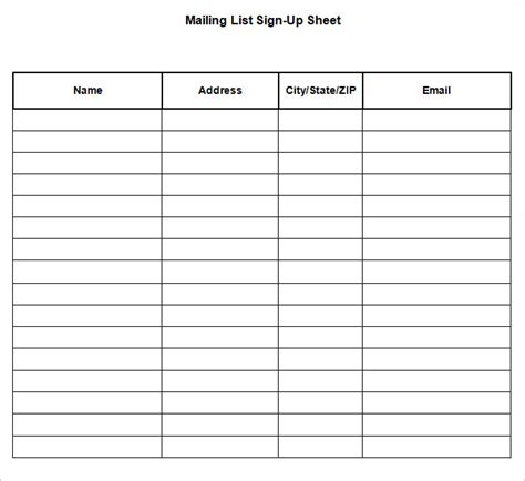 mailing list sign up card template search results for editable sign up sheet template