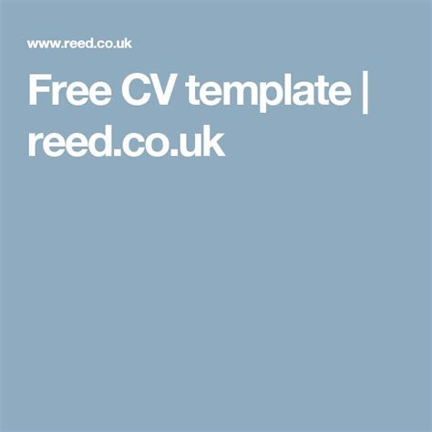 Free Cv Template Reed 1000 Ideas About Cv Format On Resume Cv Resume And Curriculum