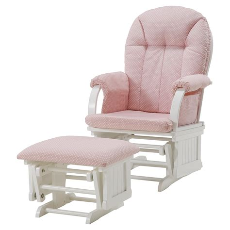 pink and white glider and ottoman dorel cottage hill glider white with pink polka dot