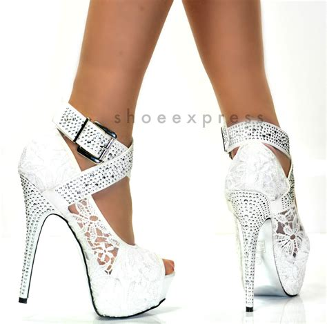 white lace high heels womens white lace platform 6 inch high