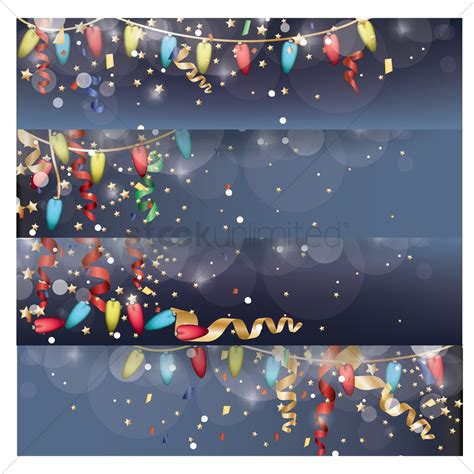 collection  christmas lights banner vector image  stockunlimited