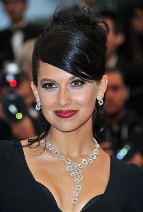 black updo hairstyles with bangs hilaria thomas elegant formal black updo with side bangs