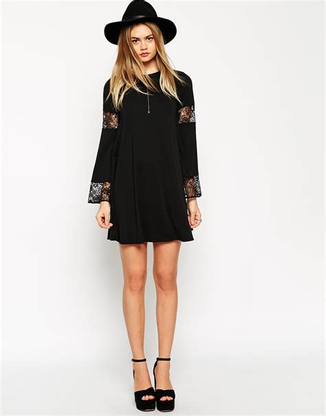 long sleeve black swing dress asos boho swing dress with long sleeve and lace inserts in
