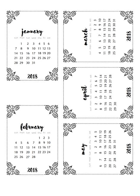 Fancy Calendar Template 2018