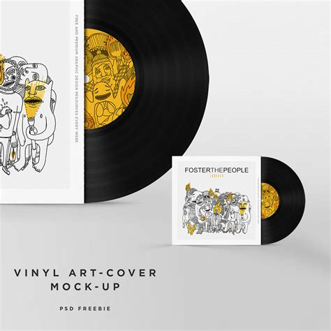 vinyl disc cover art mockup free psd template download