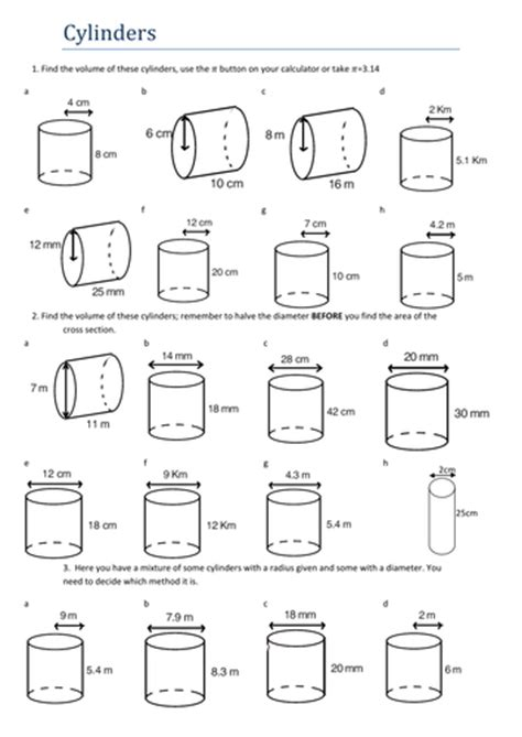 Volume Cylinder Worksheet Answers