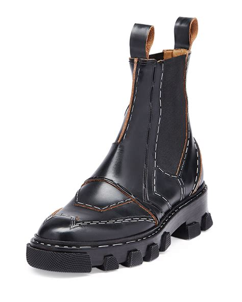 in boots balenciaga stapled leather chelsea boot in black lyst