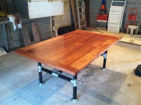 Mahogany and Iron Pipe dining room table   Farmhouse