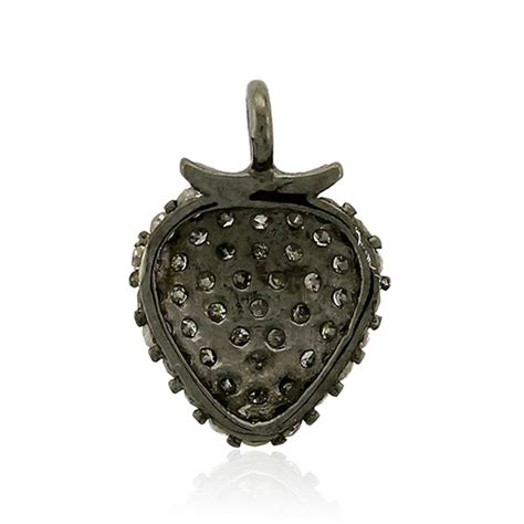 Pav Strawberry Charm P 915 0 44ct pave sterling silver strawberry charm pendant jewellery ebay