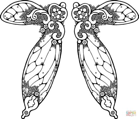 fairy wings illustration coloring page free printable