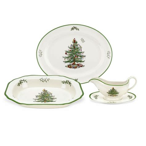 christmas tree 3 piece completer set by spode
